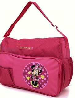 Disney Minnie Mouse Baby Girls 3pc Bright Pink Dots Diaper Bag Changing Pad New