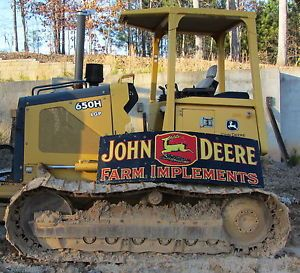 REDUCED Vintage John Deere Porcelain Sign 1930's RARE 6 Feet Long Now w Bin