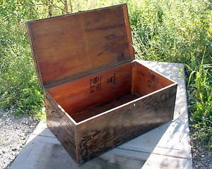 "Lockable Wooden Military Trunk Foot Locker 32"" Long Plywood Storage Box Verygd"