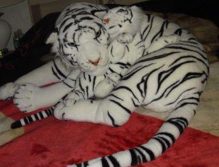 Huge White Tiger and Cub Plush 3 Feet Long Life Like Stuffed Animal