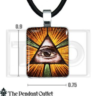 All Seeing Eye Horus Illuminati Triangle Pyramid Hipster Charm Pendant Necklace