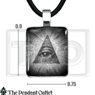All Seeing Eye Hipster Illuminati Pyramid Triangle Cash Money Pendant Necklace