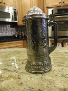 A1978 Nova Lidded Beer Stein Mug Heavy Silver Metal Overlay on Glass
