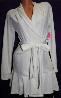 S M L Juicy Couture Authentic Velour Robe Shower Wrap Belt Ivory White Angel