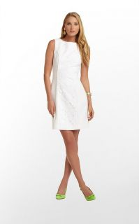 2013 $258 Spring Summer Lilly Pulitzer Idola Dress White Lace Sheath Shift