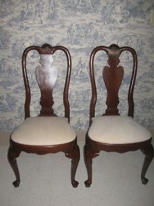 Ethan Allen Georgian Court Solid Cherry 297 Finish Formal Queen Anne Chairs
