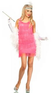 Sexy Candy Pink Flapper Dress Roaring 20's Charleston Deluxe Ladies Costume