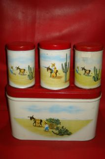 Vintage 1950's Bread Box Canister Set Southwest Motif Scene Coffee Sugar Tea