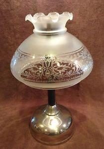 Antique 1919 Coleman Quick Lite Gas Table Lantern Light w Oil Lamp Glass Shade