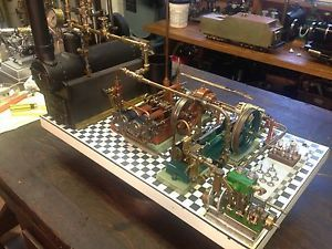 Platform with 3 Live Steam Engines 2 Generators Water Feed Pump and Boiler