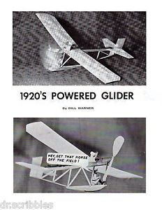 Model Airplane Plans Freeflight Peanut Scale 1920's Powered Glider Printed Plans
