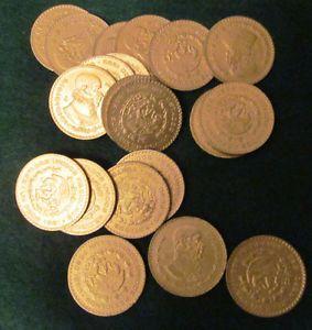 20 Coin Lot Gold Plated Mexico Un Peso 10 Silver 1957 1967 Bullion Coins