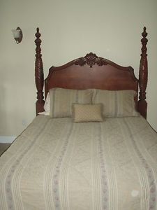 Century Furniture Queen Cherry Headboard with Metal Bed Frame