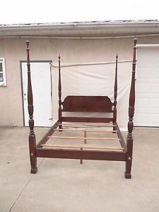 Ethan Allen Georgian Court Cherry Rice Carved Queen Headboard Poster Bed 225