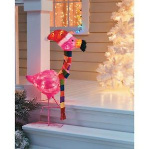 Christmas Pink Flamingo Outdoor Yard Art Light Holiday Ornament Decor Deer Snow