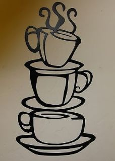Coffee Cups LG Black Kitchen Home Decor Metal Wall Art Hanging
