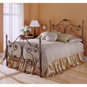 Queen Size Metal Bed Frame with Scroll Design Headboard and Footboard