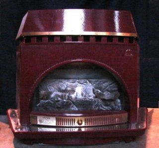 Jotul 100 Burgundy Enamel Cast Iron Gas Heating Stove Works Without Electricity
