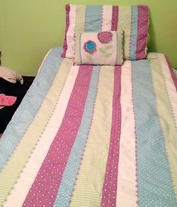 Kids Girls Bedding Striped and Polka Dot Quilt Sham Twin Throw Pillow