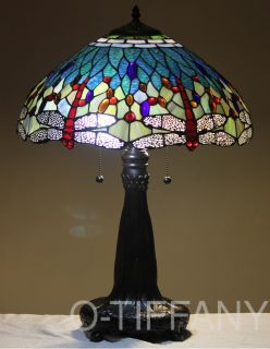 "Tiffany Style Stained Glass Table Lamp ""Aqua Dragonfly"" w 18"" Shade Metal Base"