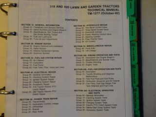 John Deere 318 and 420 Lawn and Garden Tractor Technical Manual TM 1277