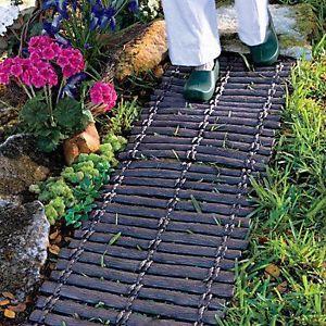 Set of 2 Wood Look Lawn Garden Pathway Walkway Outdoor Landscape Supplies