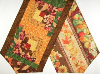 Harvest Leaves Log Cabin Patchwork Pre Cut Table Runner Kit 45 inch Fall Colors