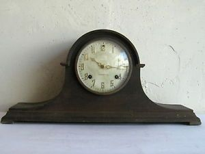 New Haven Clock Company Antique Wood Chime Camel Back Mantle Clock