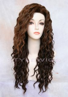 Heat OK Human Hair Blend Spiral Curls Curly Brown Blonde Mix Wig SABR 4 27