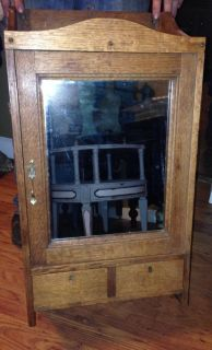 Antique Oak Medicine Cabinet Mirror Locks Drawers Skeleton Key