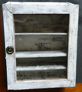 Antique Primitive White Wall Cabinet Display Cabinet Medicine