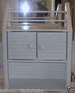 vintage white wicker bathroom medicine cabinet shelf towel rack wall