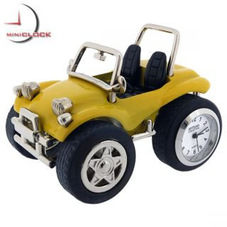 Mini Clock Yellow Dune Buggy Miniature Car Collectible Gift