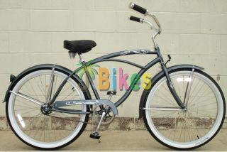 "Micargi Tahiti Men's Flint Grey 26"" Beach Cruiser Bicycle"