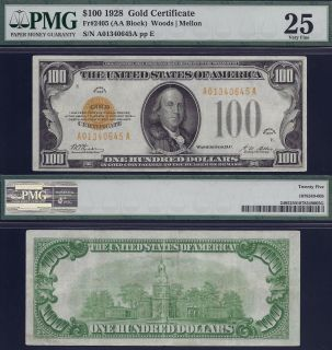 1928 $100 One Hundred Dollar Bill Gold Certificate Note PMG Graded Cash Money