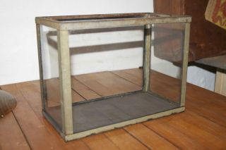 RARE 1900s Victorian Glass Metal Display Case 12x9 Fish Tank Slate Vtg Antique
