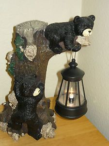 Large Resin Black Bears Climbing Tree Lantern Figure Night Light Lamp Cabin