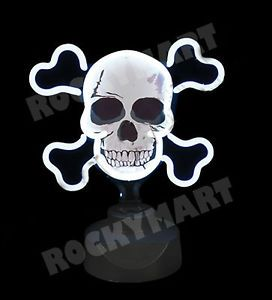 Skull Crossbones Neon Sign Lamp Light Jolly Rogers Pirate Man Cave Novelty