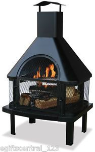 Uniflame Outdoor Wood Burning Fire Pit Fireplace Cooking Grid New Patio Decor