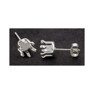 3mm 10mm Solid Sterling Silver Round 6 Prong Snap Tite Earring Settings