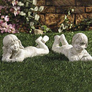 ... Lying Down Kids Boy And Girl Garden Statues Outdoor Yard Decor ...
