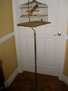 Antique Hendryx Bird Cage and Stand Brass 1905