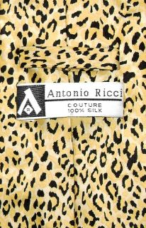 Cheetah Animal Skin Print Silk Neck Tie Handkerchief Set Men's Necktie