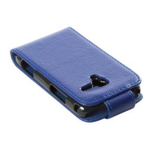 Funda Rigida Para Samsung Galaxy Ace 2 I8160 Polipiel Azulina Azul Carcasa Tapa