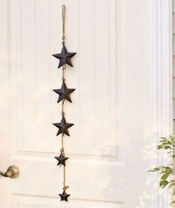 Black Strings of Rustic Metal Star Bells Yard Garden Outdoor Decor
