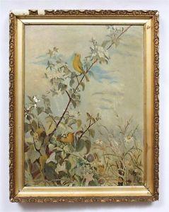 Antique American Folk Art Nature Study Canary Bird Landscape Oil Painting