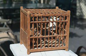 ANTIQUE VINTAGE WOOD COAL MINER MINING CANARY BIRD CAGE