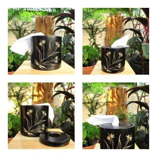 Handmade Modern Mango Wood Tissue Box Cover Home Garden Decor Gift Flower Design