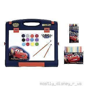 New Disney Cars Art Easel Paint Color Chalk Drawing Set