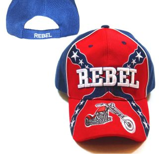 Rebel Confederate Flag Hat with Motorcycle Ball Cap 3D Embroidered